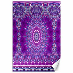 India Ornaments Mandala Pillar Blue Violet Canvas 12  x 18