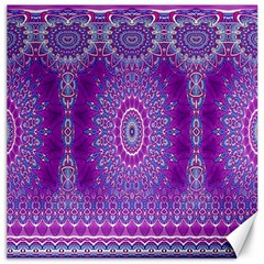 India Ornaments Mandala Pillar Blue Violet Canvas 16  x 16