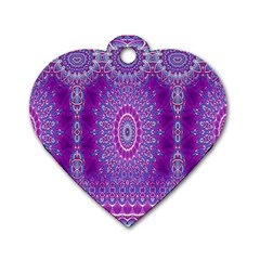 India Ornaments Mandala Pillar Blue Violet Dog Tag Heart (One Side)