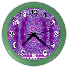 India Ornaments Mandala Pillar Blue Violet Color Wall Clocks