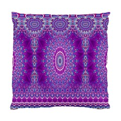India Ornaments Mandala Pillar Blue Violet Standard Cushion Case (Two Sides)