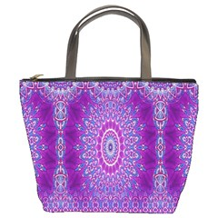 India Ornaments Mandala Pillar Blue Violet Bucket Bags