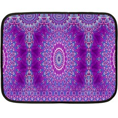India Ornaments Mandala Pillar Blue Violet Double Sided Fleece Blanket (Mini)
