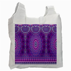 India Ornaments Mandala Pillar Blue Violet Recycle Bag (Two Side)