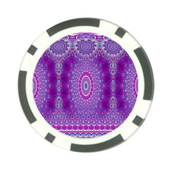 India Ornaments Mandala Pillar Blue Violet Poker Chip Card Guards (10 pack)