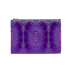 India Ornaments Mandala Pillar Blue Violet Cosmetic Bag (Medium)