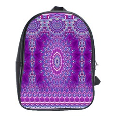 India Ornaments Mandala Pillar Blue Violet School Bags(Large)