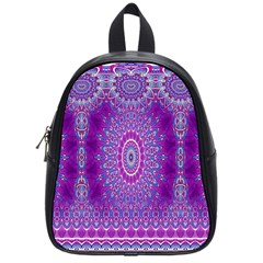 India Ornaments Mandala Pillar Blue Violet School Bags (Small)