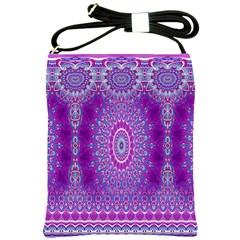 India Ornaments Mandala Pillar Blue Violet Shoulder Sling Bags