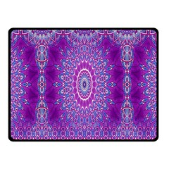 India Ornaments Mandala Pillar Blue Violet Fleece Blanket (Small)