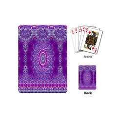 India Ornaments Mandala Pillar Blue Violet Playing Cards (Mini)