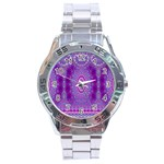 India Ornaments Mandala Pillar Blue Violet Stainless Steel Analogue Watch Front
