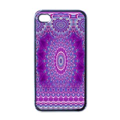India Ornaments Mandala Pillar Blue Violet Apple iPhone 4 Case (Black)