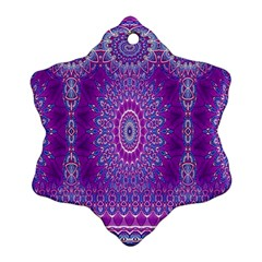 India Ornaments Mandala Pillar Blue Violet Snowflake Ornament (2-Side)