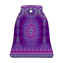 India Ornaments Mandala Pillar Blue Violet Bell Ornament (2 Sides)