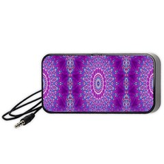 India Ornaments Mandala Pillar Blue Violet Portable Speaker (Black)