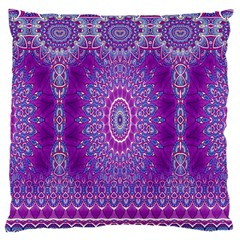 India Ornaments Mandala Pillar Blue Violet Large Cushion Case (Two Sides)
