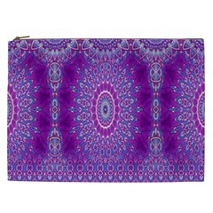India Ornaments Mandala Pillar Blue Violet Cosmetic Bag (XXL)