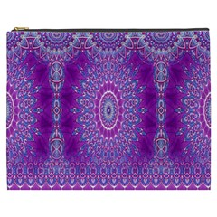 India Ornaments Mandala Pillar Blue Violet Cosmetic Bag (XXXL)