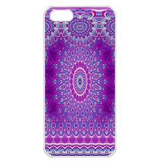 India Ornaments Mandala Pillar Blue Violet Apple iPhone 5 Seamless Case (White)