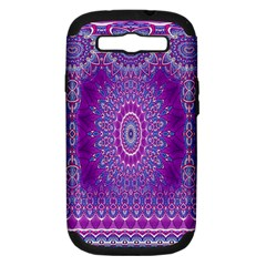 India Ornaments Mandala Pillar Blue Violet Samsung Galaxy S III Hardshell Case (PC+Silicone)