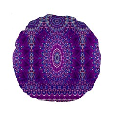 India Ornaments Mandala Pillar Blue Violet Standard 15  Premium Round Cushions
