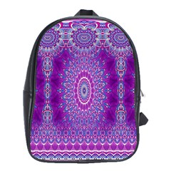India Ornaments Mandala Pillar Blue Violet School Bags (XL)