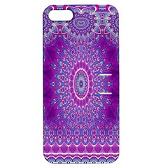 India Ornaments Mandala Pillar Blue Violet Apple iPhone 5 Hardshell Case with Stand