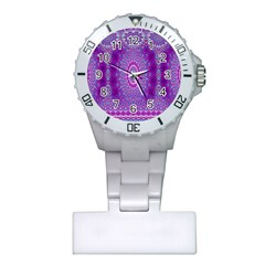 India Ornaments Mandala Pillar Blue Violet Plastic Nurses Watch