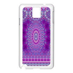 India Ornaments Mandala Pillar Blue Violet Samsung Galaxy Note 3 N9005 Case (White)