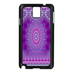 India Ornaments Mandala Pillar Blue Violet Samsung Galaxy Note 3 N9005 Case (Black)