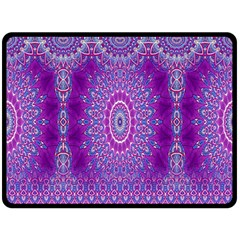 India Ornaments Mandala Pillar Blue Violet Double Sided Fleece Blanket (Large)