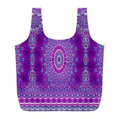 India Ornaments Mandala Pillar Blue Violet Full Print Recycle Bags (L)