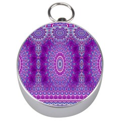 India Ornaments Mandala Pillar Blue Violet Silver Compasses