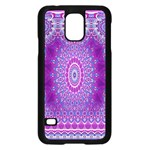 India Ornaments Mandala Pillar Blue Violet Samsung Galaxy S5 Case (Black) Front