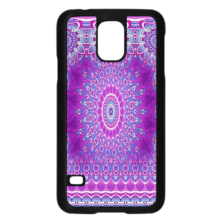 India Ornaments Mandala Pillar Blue Violet Samsung Galaxy S5 Case (Black)