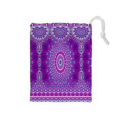 India Ornaments Mandala Pillar Blue Violet Drawstring Pouches (Medium)