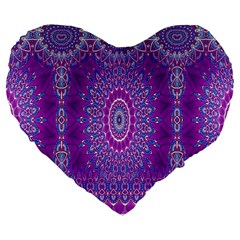 India Ornaments Mandala Pillar Blue Violet Large 19  Premium Flano Heart Shape Cushions