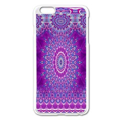 India Ornaments Mandala Pillar Blue Violet Apple iPhone 6 Plus/6S Plus Enamel White Case