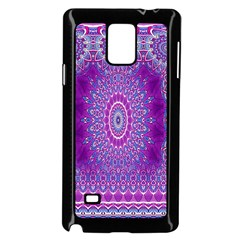 India Ornaments Mandala Pillar Blue Violet Samsung Galaxy Note 4 Case (Black)
