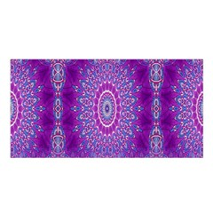 India Ornaments Mandala Pillar Blue Violet Satin Shawl