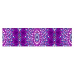 India Ornaments Mandala Pillar Blue Violet Satin Scarf (Oblong)