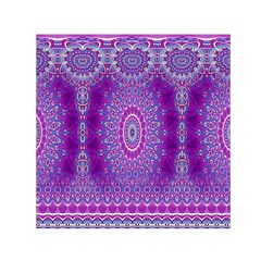 India Ornaments Mandala Pillar Blue Violet Small Satin Scarf (Square)