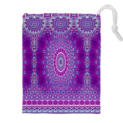India Ornaments Mandala Pillar Blue Violet Drawstring Pouches (XXL)