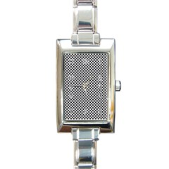 Sports Racing Chess Squares Black White Rectangle Italian Charm Watch by EDDArt