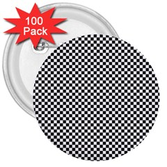 Sports Racing Chess Squares Black White 3  Buttons (100 Pack)  by EDDArt