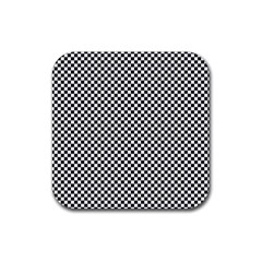 Sports Racing Chess Squares Black White Rubber Coaster (square)  by EDDArt