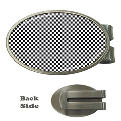 Sports Racing Chess Squares Black White Money Clips (oval)  by EDDArt