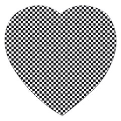Sports Racing Chess Squares Black White Jigsaw Puzzle (heart) by EDDArt