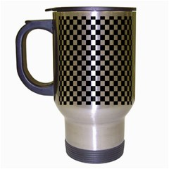 Sports Racing Chess Squares Black White Travel Mug (silver Gray) by EDDArt